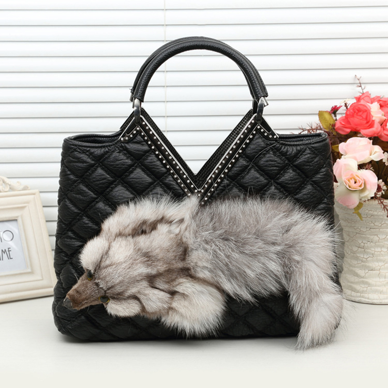 2017 New Brand Fox Fur Handbags Fashion Women Winter Luxury Bag PU Leather Shoulder Bags Bolsa Feminine Messenger Bags