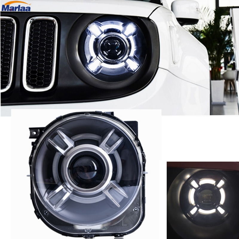 HID LED Headlight with DRL and Bi-xenon Projector for Jeep Renegade LED Projector Xenon HID Headlights Assembly 4x6 inch rectangle auto light led headlight replacement hid xenon h4651 h4652 h4656 h4666 h6545 h4 front led headlight with drl