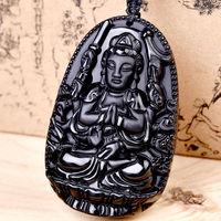 Black Hand carved Natural Obsidian Buddha Monkey Amulet Pendant With Necklace