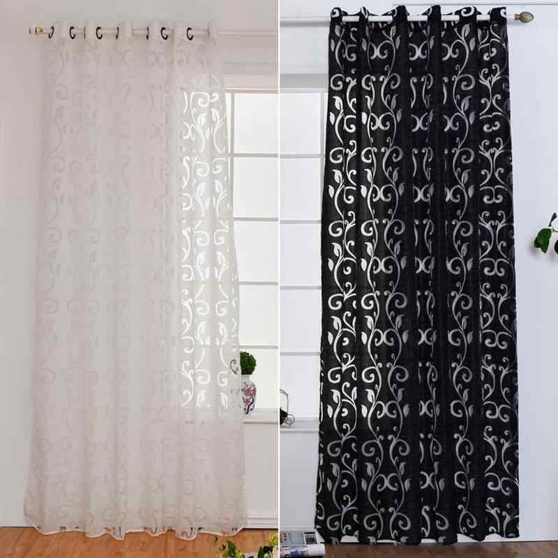 Black White Curtain Window Living Room jacquard Fabrics Luxury semi-blackout Curtains Panel Voile for Living Room Decoration New