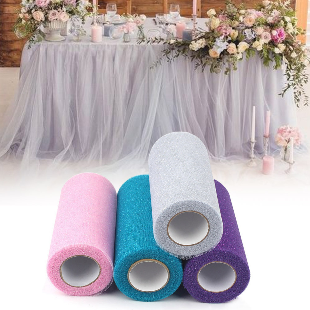 Ourwarm 25Yards Wedding Tulle Rolls Glitter Shimmering ...