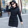 Chegada nova Mulheres Jaquetas E Casacos de Inverno Parka Gola de Algodão Feminino Com Cinto Slim Fit Mulheres Casaco de Inverno A2602