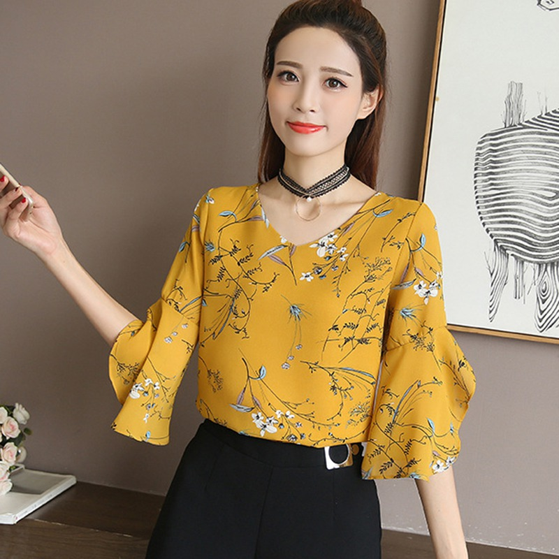 Women Half Flare Sleeve Floral   Shirt   Small V-neck Female   Blouses   Korean Sweet Ruffled Butterfly Sleeve Chiffon Tops