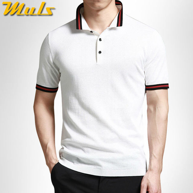 b7ea609d8 Mens polo sweaters summer quick dry cotton knitted short sleeve striped  collar polo shirts top plus size 5XL Muls brand MS16027