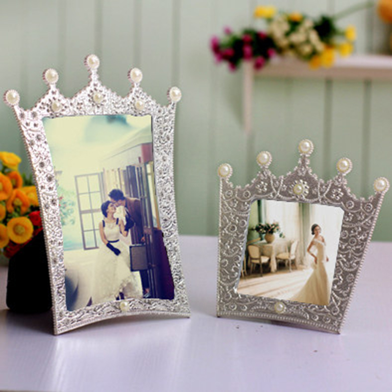 Creative Wedding Crystal Picture Frame Crown Metal Jeweled Photo Frame Wedding Tabletop Decor