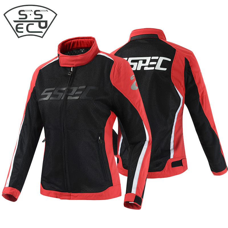 SSPEC professional women's motorcycle jacket off-road riding protective equipment racing jacket breathable mesh motorbike jacket scoyco motorcycle motorbike touring riding jacket motocross off road racing jacket breathable clothing with 7 pieces protectors