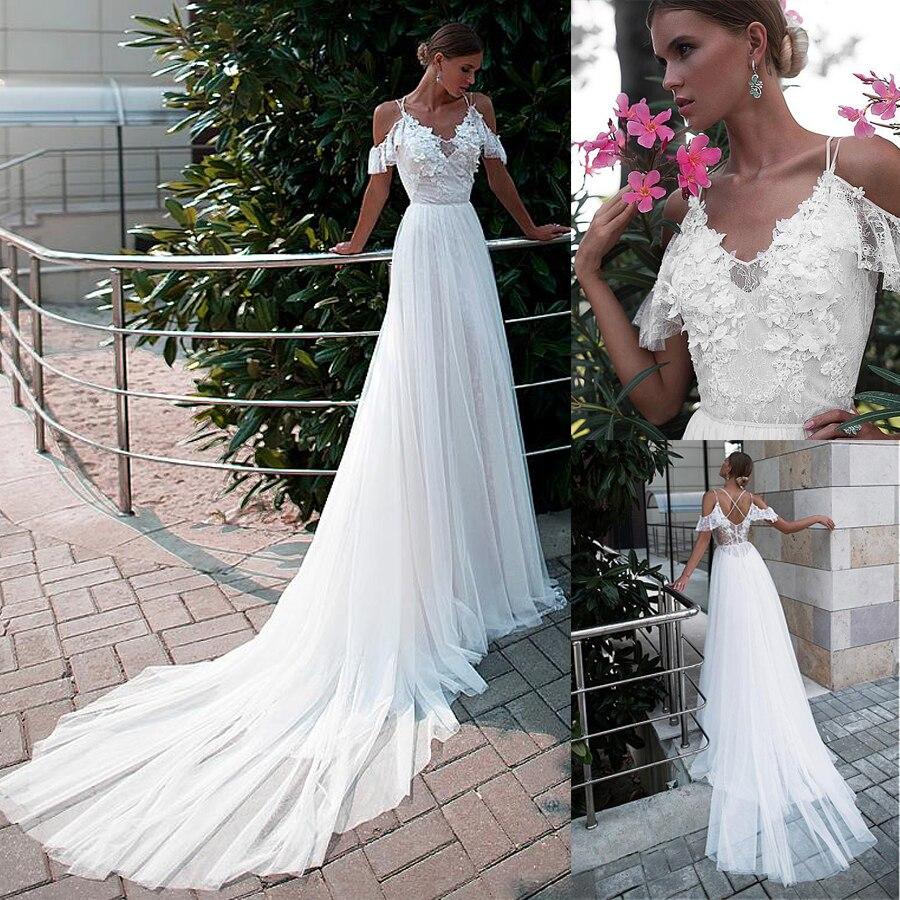 Spaghetti Straps Neckline A-line Wedding Dress With Lace Appliques & 3D Flowers Court Train Bridal Dress Customized