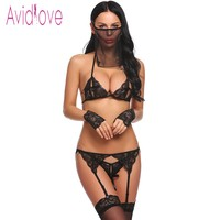 2018 Women Sexy Hot 5 Pieces Lingerie Set Lace Bra With Thong Brief Garter Floral Porn