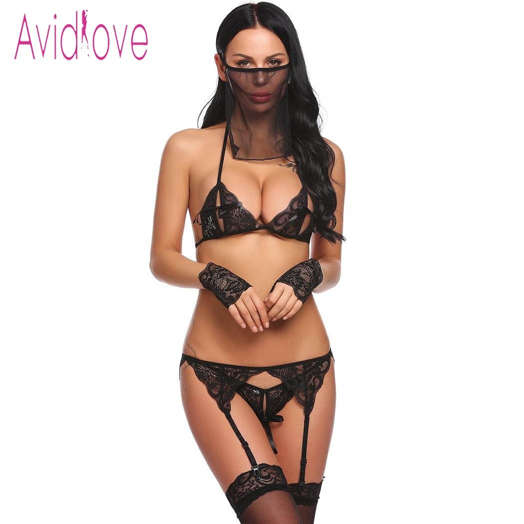 Avidlove Women Sexy 5 Pieces Lingerie Lace Bra with Thong Brief Garter Floral Porn Sex Underwear Baby Doll Exotic Clothes avidlove 2018 sexy lingerie bralette set women sexy corset hollow lace see through underwear cami lingerie bra set sex clothes