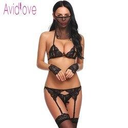 Avidlove mujer Sexy 5 piezas Lencería Sujetador de encaje con Tanga breve Liga Floral porno sexo ropa interior Baby Doll ropas exóticas