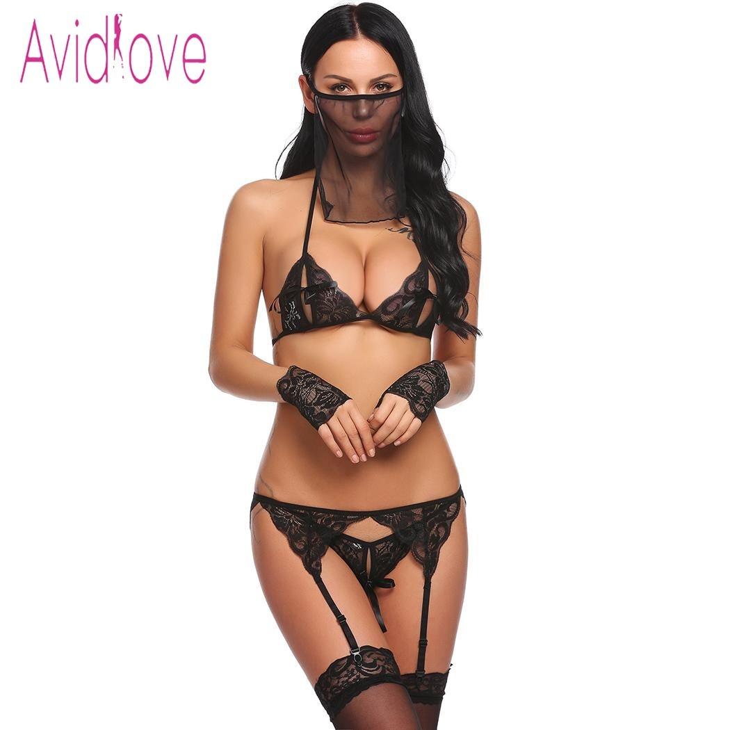 Avidlove mujer Sexy 5 unidades Lencería encaje sujetador con Tanga breve Liga Floral porno sexo ropa interior muñeca bebé ropa exótica