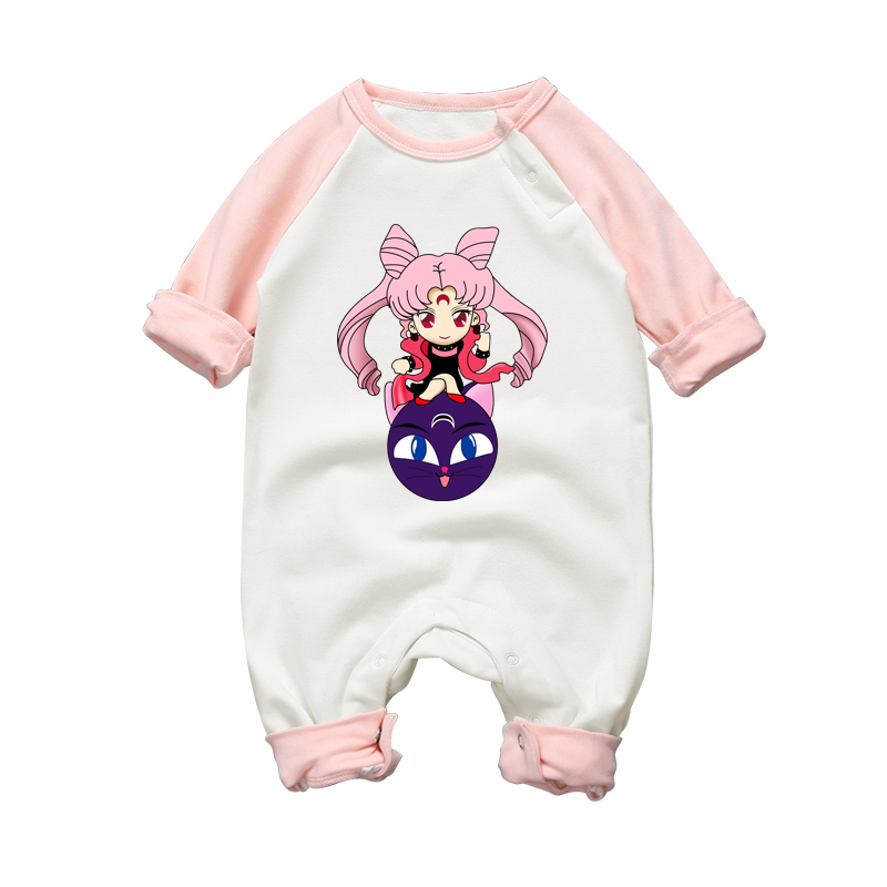 Baby Rompers Sailor Moon Cartoon Style Cotton Long Sleeve Baby Boys & Girls Clothing Toddler Jumpsuits Newborn Clothes Overalls baby boys rompers infant jumpsuits mickey baby clothes summer short sleeve cotton kids overalls newborn baby girls clothing
