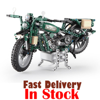 Classic Military Motorcycle Power Function Technic 550pcs Scale Model Motor Building Block Brick Toys For Children Kids Gifts