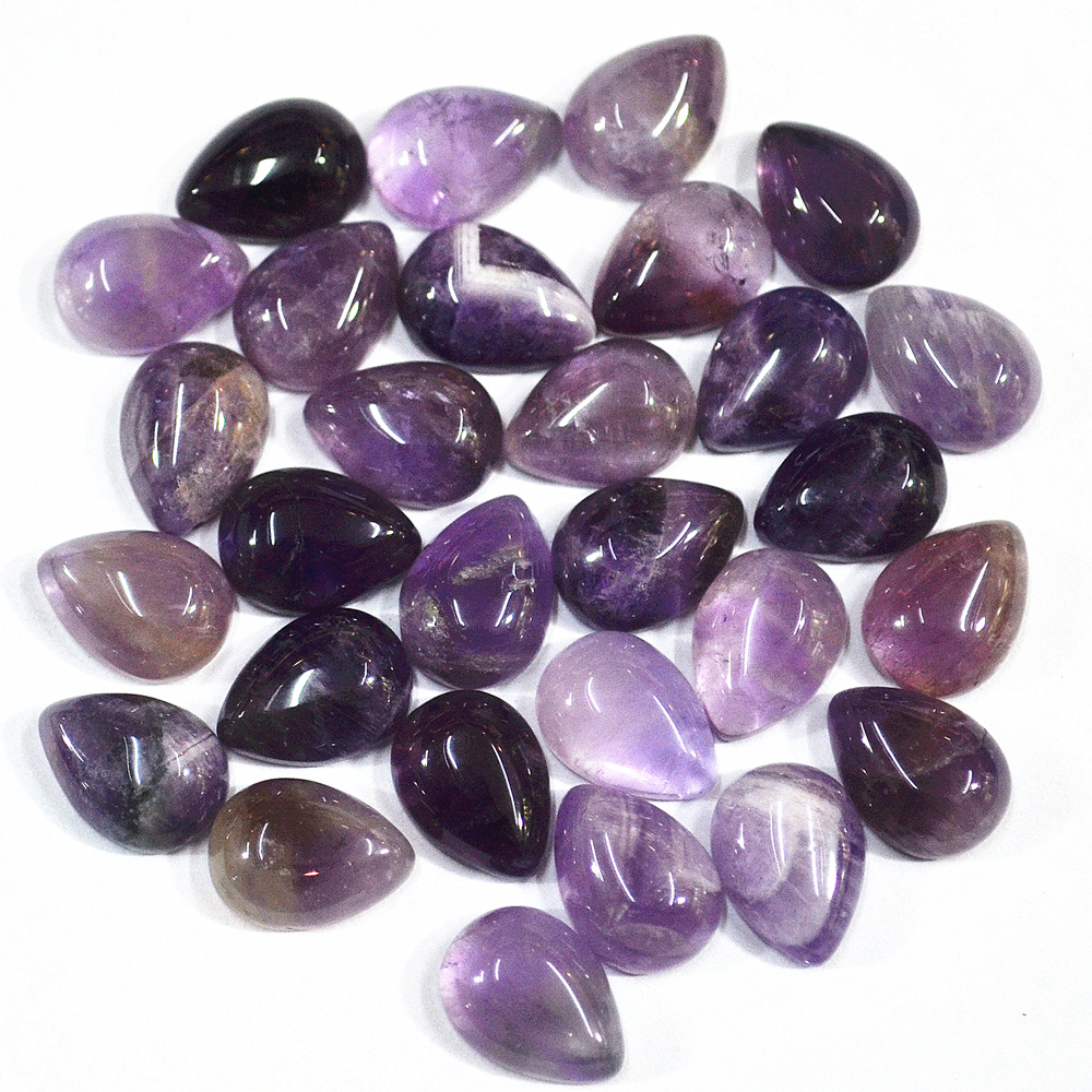 Fashion Natural Stone Purple Crystal Water Drop CAB Cabochons Purple Crystal Beads For Women Jewelry Making 10mm *14mm*5mm 50PCS