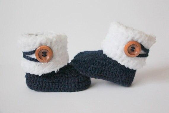 Häkeln Baby Booties Baby Schuhe Mädchen Jungen Weiß Navy Blau