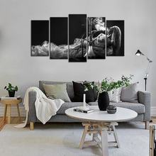 Canvas Painting Print Wall Art Beautiful Woman Smoke Black and White Picture Photo for Living Bedroom Hotel Wall Decoration(China)