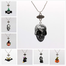 Halloween Necklace Skull Charm bat Pendant Necklace holiday gift Witch Hat many Halloween necklaces(China)
