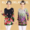 30 CORES! XL, XXL, 3XL, 4XL, 5XL! 2016 Inverno Nova Grande Plus Size Camisa para Mulheres Artigo Camisas Blusas Mulher Impresso Blusa Top Túnica de Algodão