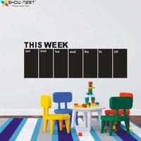 Livraison Gratuite-Tableau Stickers Muraux Calendrier Hebdomadaire-Ce semaine Blackboard Calendrier Wall Sticker Home Decor-Taille 15x42 pouces