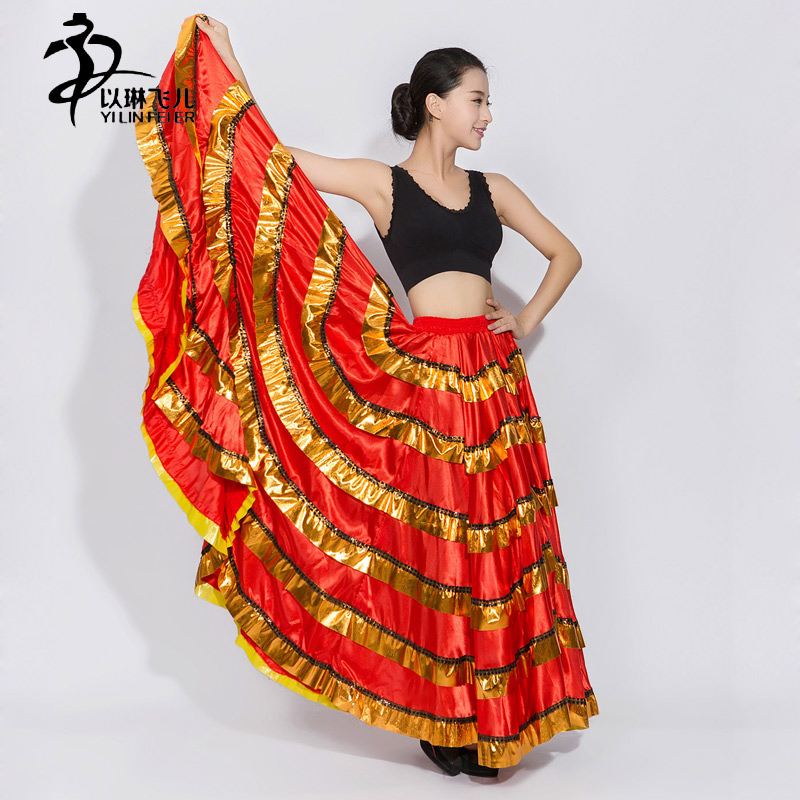 FamencoSkirt 2017 New Gypsy Skirt Belly Dance Skirt Flying Skirt Flamenco Belly Dancing