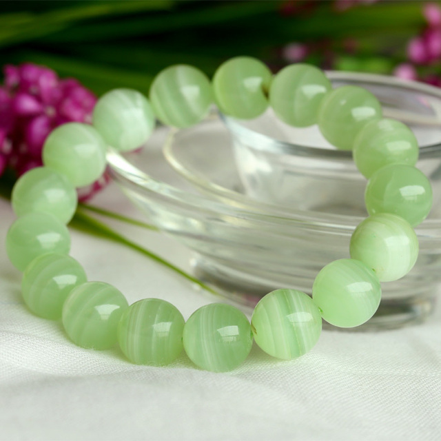 Wholesale Natural Genuine Green Aragonite Stretch Women's Bracelet Round beads 12mm 04007