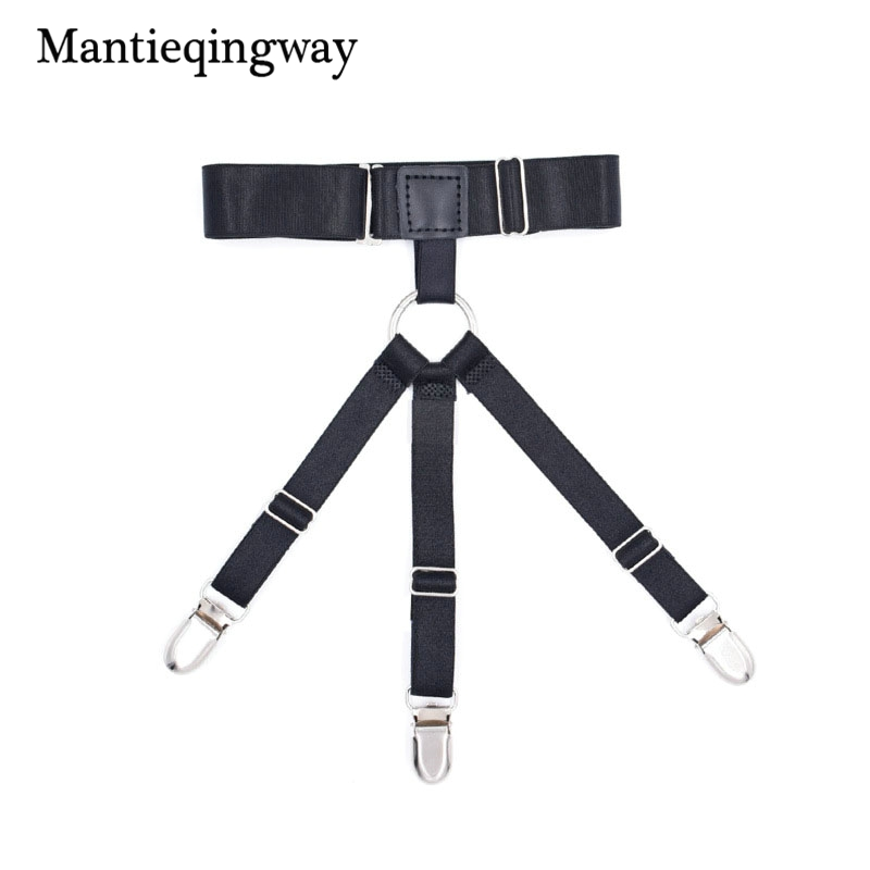 Mantieqingway Unisex Shirt Stays Garters For Mens Black Shirt Holders Suspenders Strap Sexy Women Adjustable Legs Belts Clear-Cut Texture Men's Suspenders