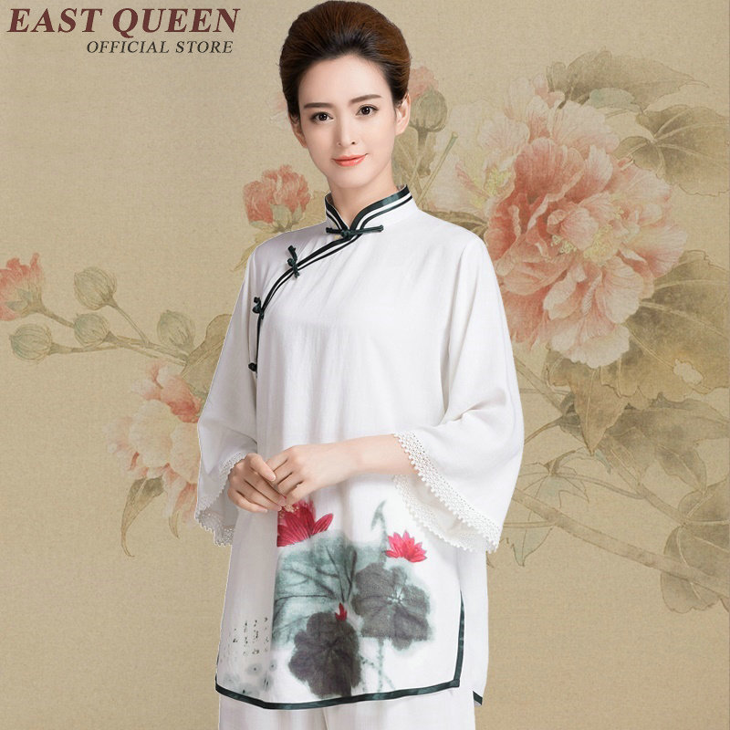 Chinese traditional taichi uniform floral print women tai chi suit zen clothing kungfu outfit wushu martial art costume KK478 Q