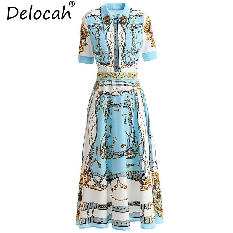 Delocah 2019 femmes printemps été robe piste mode cristal perles géométrique imprimé élégant dames vacances robes Vintage
