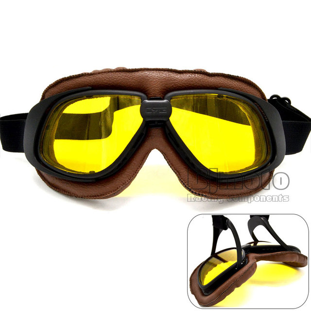 Universal Helmet Goggles With Yellow Lens Motorcycle Goggle Vintage Pilot Biker Leather Eyewear Skiing Glasses