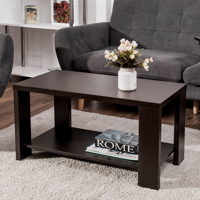 Giantex Coffee Table Rectangular Cocktail Wood Modern