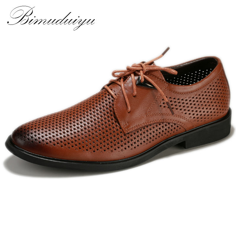 BIMUDUIYU Ahueca Hacia Fuera Super Cool Transpirable Hombres Zapatos Casuales de Verano Nuevo Estilo de Negocios de Calidad de Cuero Genuino En Punta Zapatos Del Agujero