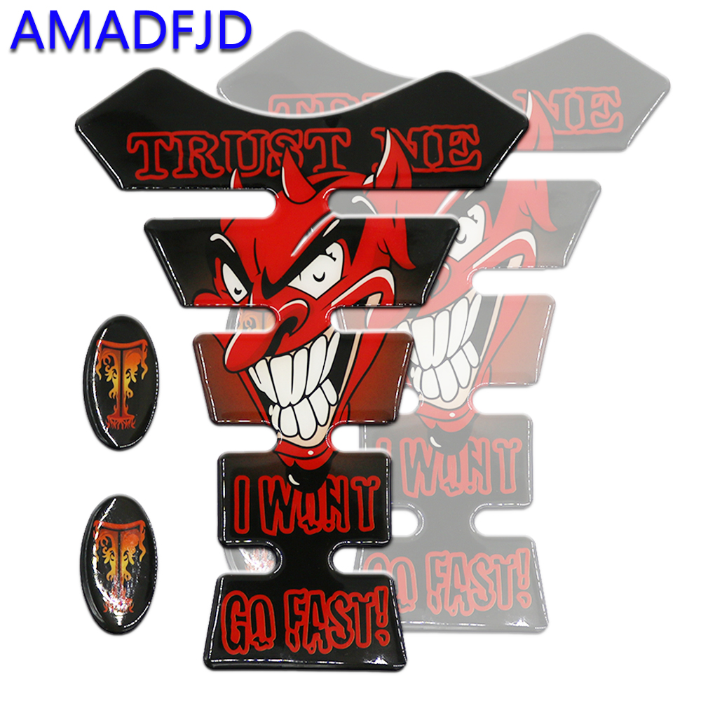 AMADFJD Motorcycle Sticker Decals Tank Pad 3D 3M Devil Skull Logo Motorcycle Sticker For Yamaha R1 R3 R6 Fz6 Xj6 TankPad Sticker