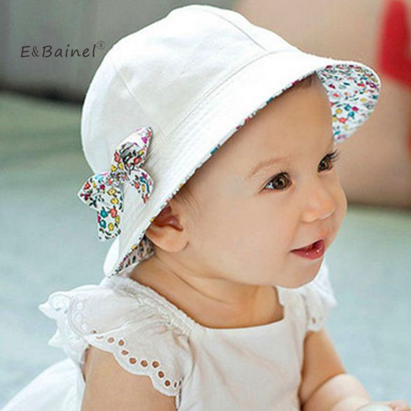 bfada5a6575 E Bainel Fashion Two Side Baby Hat For Girls Summer Baby Caps Children  Floral Bowknot Baby Sun Hat Beanie Infant Gorros