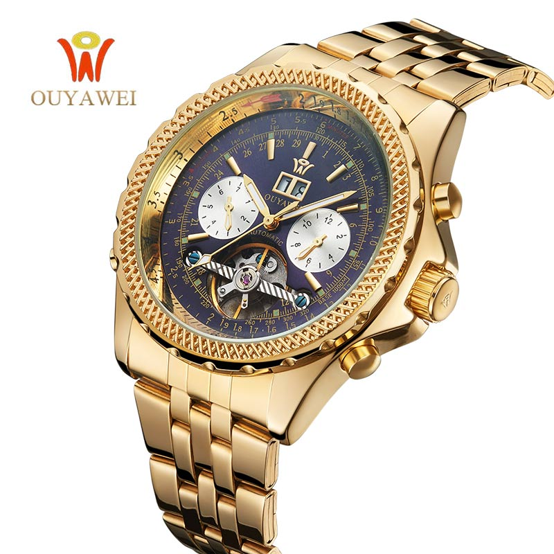 OUYWWEI Brand Luxury Watches Mens Automatic Skeleton Mechanical Wristwatches Mechanical Casual Stainless Steel Relogio Masculino forsining fashion brand men simple casual automatic mechanical watches mens leather band creative wristwatches relogio masculino