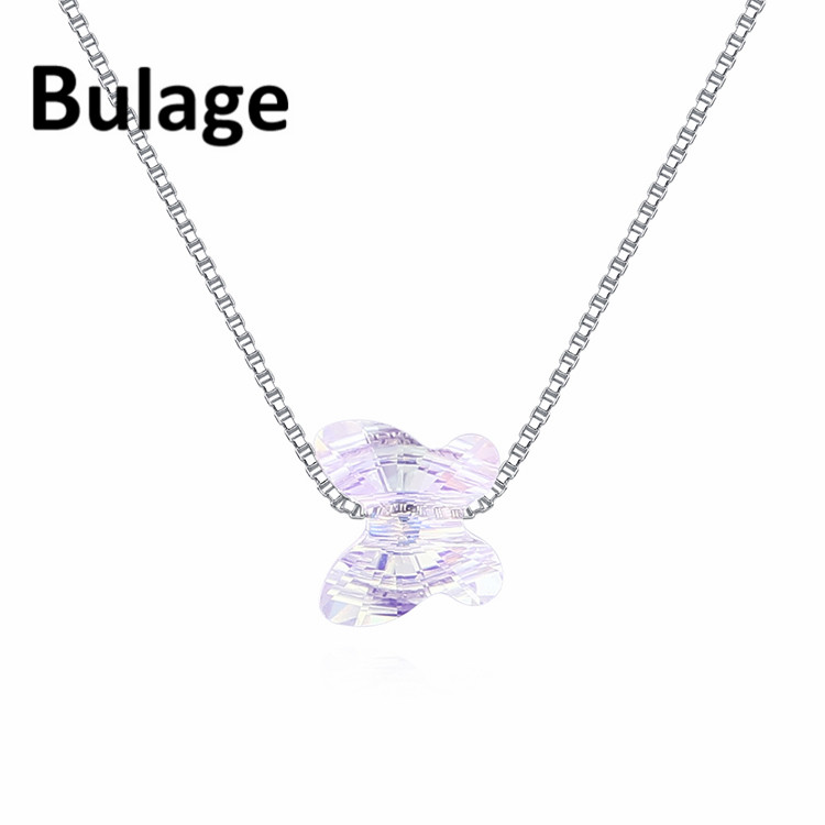 Bulage Crystals From SWAROVSKI Butterfly Beads Necklace Pendants Rhodium plated Chain Necklaces For Women Wedding Chic Gift in Chain Necklaces from Jewelry Accessories