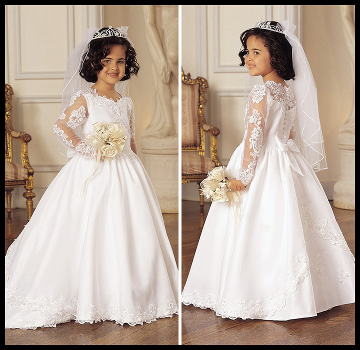 Cheap Beautiful Baby Ball Gown Appliques Lace Long Sleeve