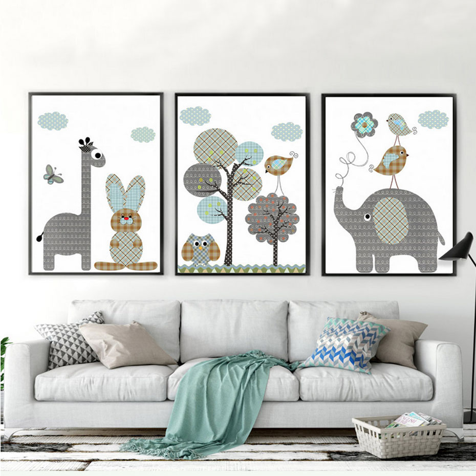 Factory Paint Decorating Color Filled Nurseries: New Giraffe Rabbit Animals Canvas Painting Nordic Cartoon