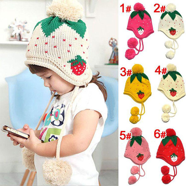 Kids Girls Baby Knitting Crochet Hat Strawberry Pattern Cap 4 Colors 1-6 Years XL153 Free shipping&Drop Shipping cardigans in sirdar snuggly baby crofter dk 1929 knitting pattern
