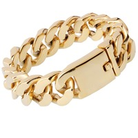 New Brand Punk Style 20mm 23cm Mens Bracelet Curb Link Chain 316L Stainless Steel Bracelet Gold Color High Quality