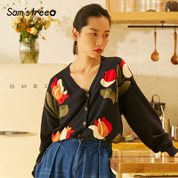 Samstree Autumn Women Loose Sweater Flower V neck Female Cardigan Harajuku Sheer Cotton Winter Young Lady Knitted Tops
