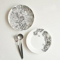 Heimtextilien Teller Bone China Auf verglast Runde Schwarz Weiß Blumen Gedruckt Steak Gerichte Westlichen Platten Geschirr Großhandel