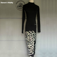 Women latin dance clothes girls latin dance perforamce dress lady latin dance Embroidery dress latin Long sleeves Dance clothes