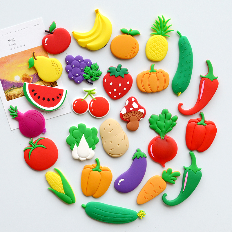 Fridge Magnet Decor Souvenir 3d Cute Fruit Vegetable Puzzle Children Early Education Lovely Cartoon Board Teaching Kid Toy