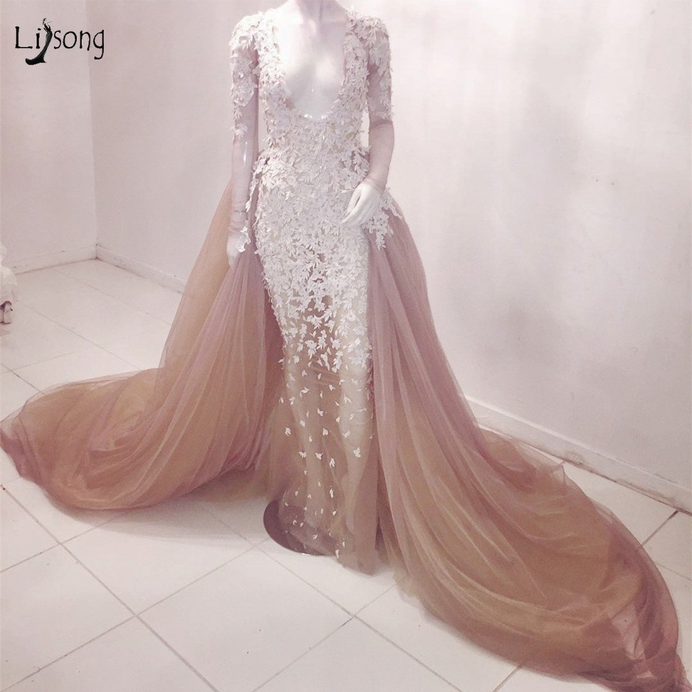 Sexy Champagne Lace Mermaid   Prom     Dresses   With Detachable Train Full Sleeves Deep V-neck Semi- Illusion Lace Evening Gowns