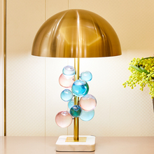 Nordic Blue and Pink Csystal Ball Table Lamp for Living Room Bedroom White Marble Golden Metal Lampshade Luxurious