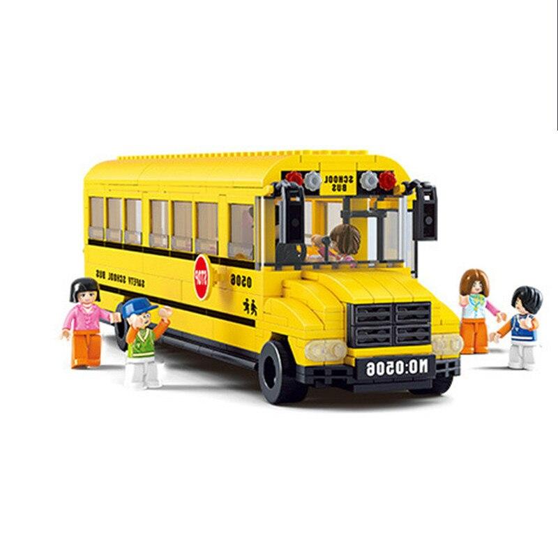 Galleria fotografica 392 pz Grande Scuola Bus Building Blocks Compatibile <font><b>Legoings</b></font> Città Mattoni FAI DA TE Veicoli Blocco Enlighten Giocattoli Per I Bambini Binquedos