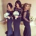 2017 Novo robe demoiselle d'honneur vestido madrinha abito damigella Marinha Sereia Longo Da Dama de honra Vestidos Com Manga Longa