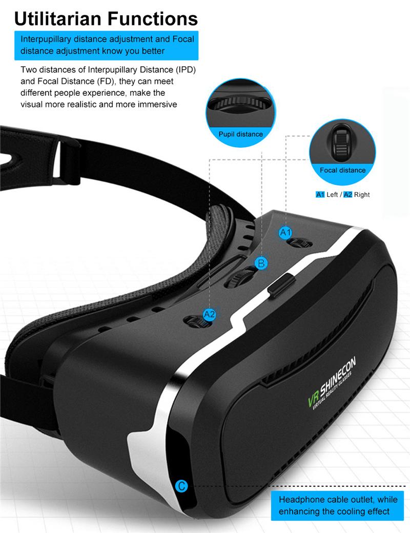 Original Shinecon VR Box 2.0 Google Cardboard Virtual Reality Smartphone Goggles Glasses Headset With Mocute Bluetooth Gamepad 3