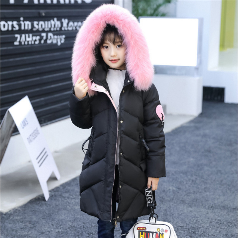 Girls Long Down Jackets Winter Coat 2017 New Fashion Big Fur Collar Warm Letters Embroidery Winter Jacket For Girls High Quality 2017 new high quality big fur collar women long winter cotton padded coats female warm jacket large size parka outerwear qh0882