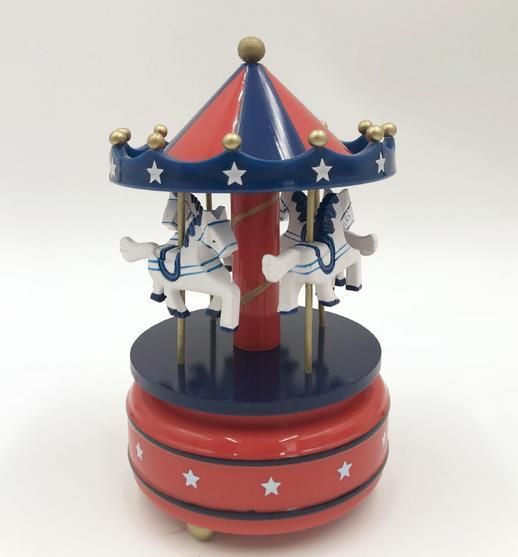 Круглые музыкальные шкатулки Merry-go-round, геометрические музыкальные украшения для детской комнаты, подарки унисекс, Деревянная Рождественская карусель, коробка для домашнего декора, 1 шт - Цвет: 2